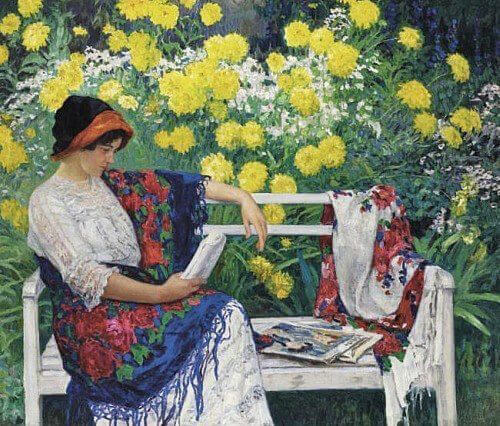 3 Nikolai Petrovich Bogdanov-Belsky (Russian painter, 1868-1945)   Reading in the Garden 1915