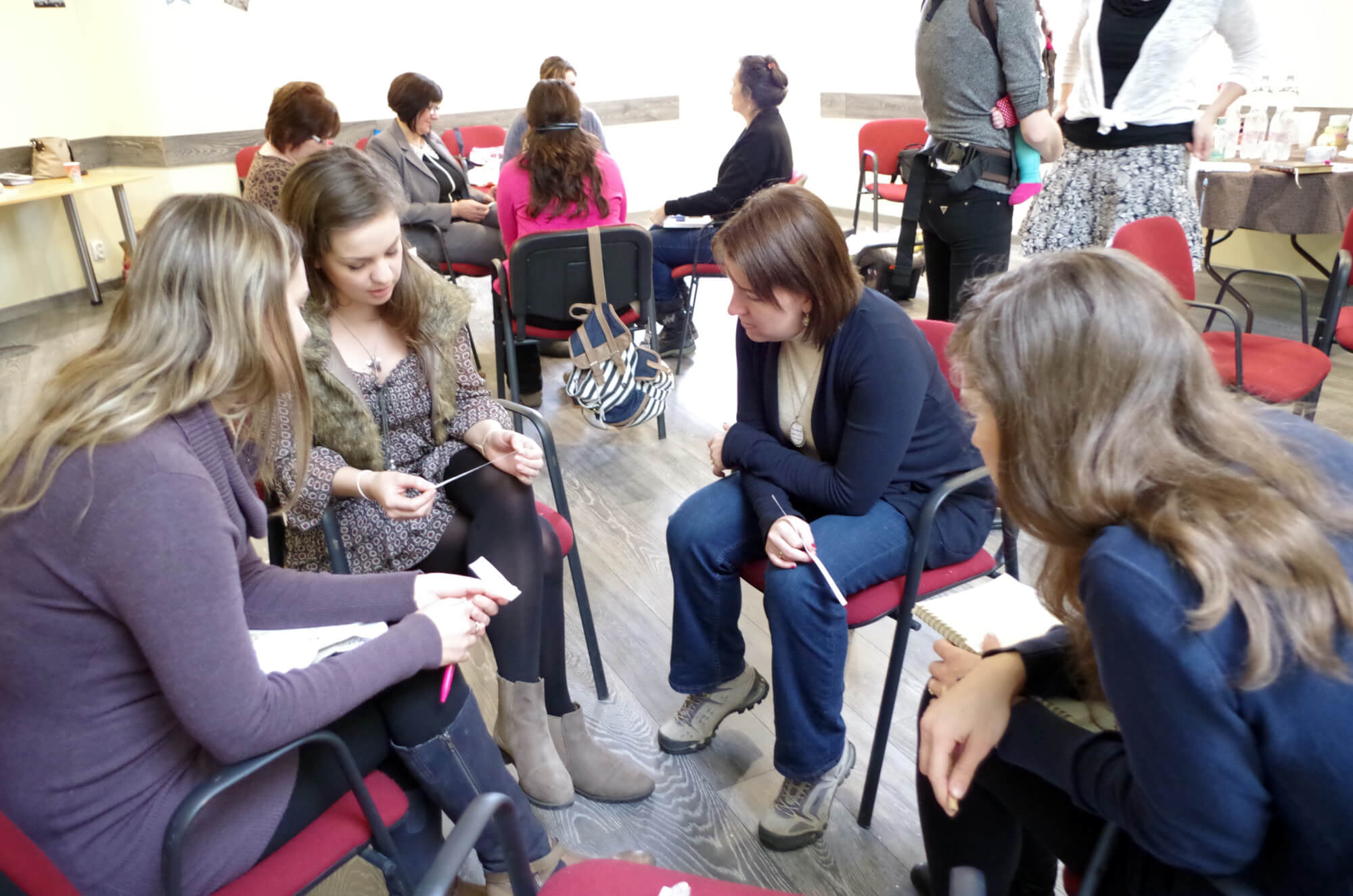 Women study together during the Hungary Intensive.