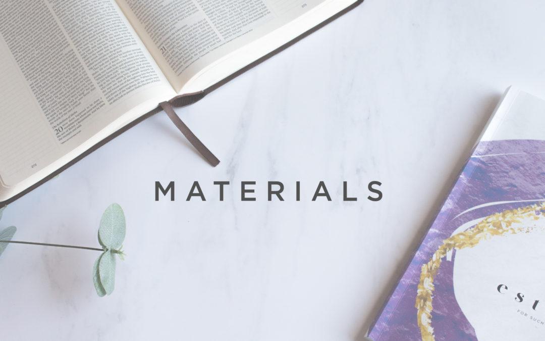 Esther- Materials