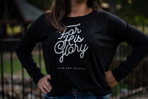 For His Glory – Women's Black Long Sleeves T-Shirt